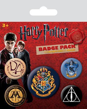 Imagen de Harry Potter Pack 5 Chapas Hogwarts