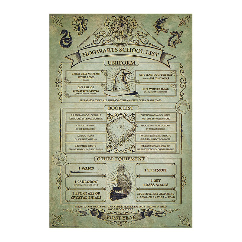Imagen de Harry Potter Poster Hogwarts Listado Equipamiento