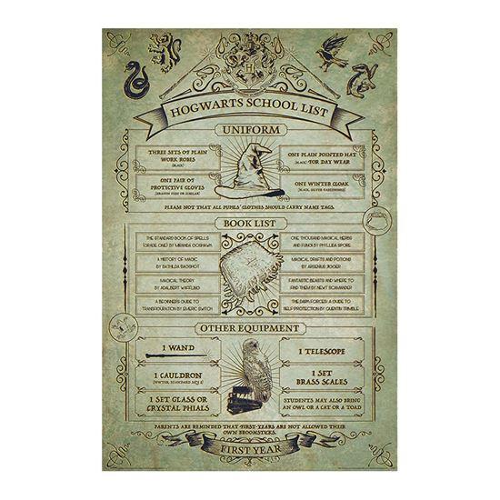 Foto de Harry Potter Poster Hogwarts Listado Equipamiento