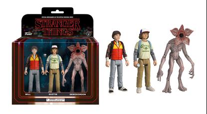 Imagen de Stranger Things ReAction Pack de 3 Figuras Dustin, Will & Demogorgon 14 cm