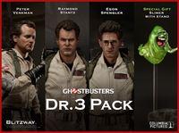 Imagen de Los Cazafantasmas Pack Figuras 1/6 Peter Venkman, Egon Spengler, Raymond Stantz 30 cm + Slimer