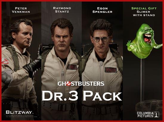 Foto de Los Cazafantasmas Pack Figuras 1/6 Peter Venkman, Egon Spengler, Raymond Stantz 30 cm + Slimer