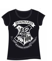 Imagen de Harry Potter Camiseta Chica Hogwarts Crest Negra Talla XL
