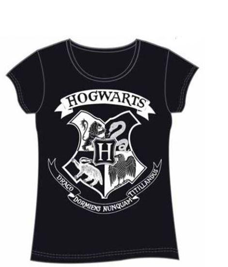 Foto de Harry Potter Camiseta Chica Hogwarts Crest Negra Talla XL