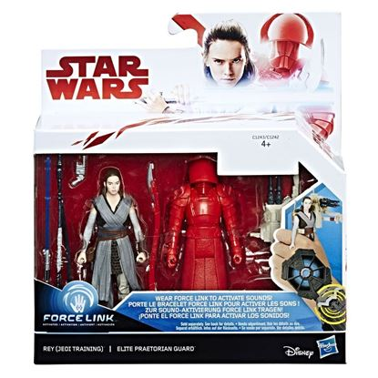 Imagen de Star Wars Force Link Pack de 2 Figuras 10 cm 2017 Rey (Jedi Training) & Elite Praetorian Guard