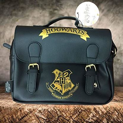 Imagen de Bolso Térmico Hogwarts Negro y Oro (Satchel Style) - Harry Potter