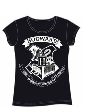 Picture of Harry Potter Camiseta Chica Hogwarts Crest Negra Talla XL