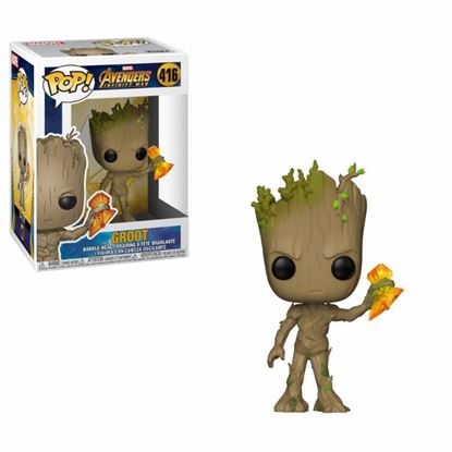 Imagen de Avengers Infinity War Figura POP! Movies Vinyl Groot with Stormbreaker 9 cm.