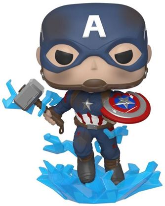 Picture of Avengers: Endgame POP! Movies Vinyl Figura Captain America w/Broken Shield & Mjölnir 9 cm.