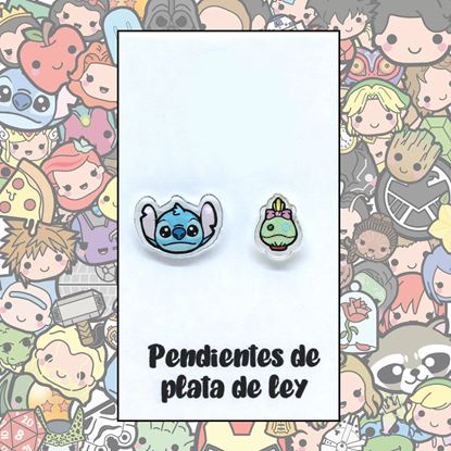 Picture of PENDIENTES STITCH Y SCRUMP (RESINA/PLATA)