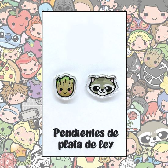 Picture of PENDIENTES GROOT Y ROCKET (RESINA Y PLATA)