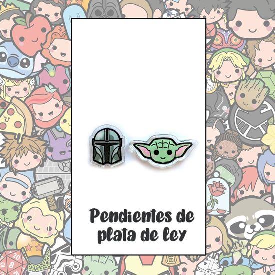Picture of PENDIENTES MANDALORIANO Y BABY YODA (RESINA Y PLATA)