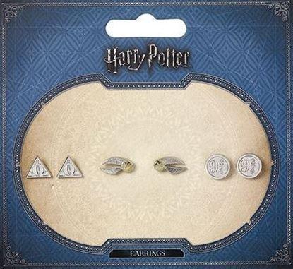 Picture of Set 3 pares pendientes - Reliquias de la Muerte, Snitch Dorada y Andén 9 3/4 - Harry Potter