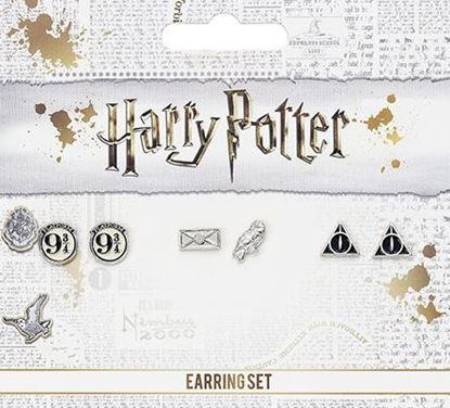Picture of Set 3 pares pendientes - Andén 9 3/4, Carta y Hedwig y Reliquias de la Muerte - Harry Potter